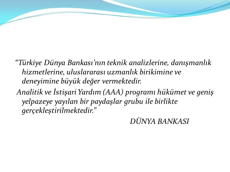 """""""Türkiye Dünya Bankası'nın teknik analizlerine, danışmanlık hizmetlerine, uluslararası uzmanlık birikimine ve deneyimine büyük değer vermektedir. Anal"""