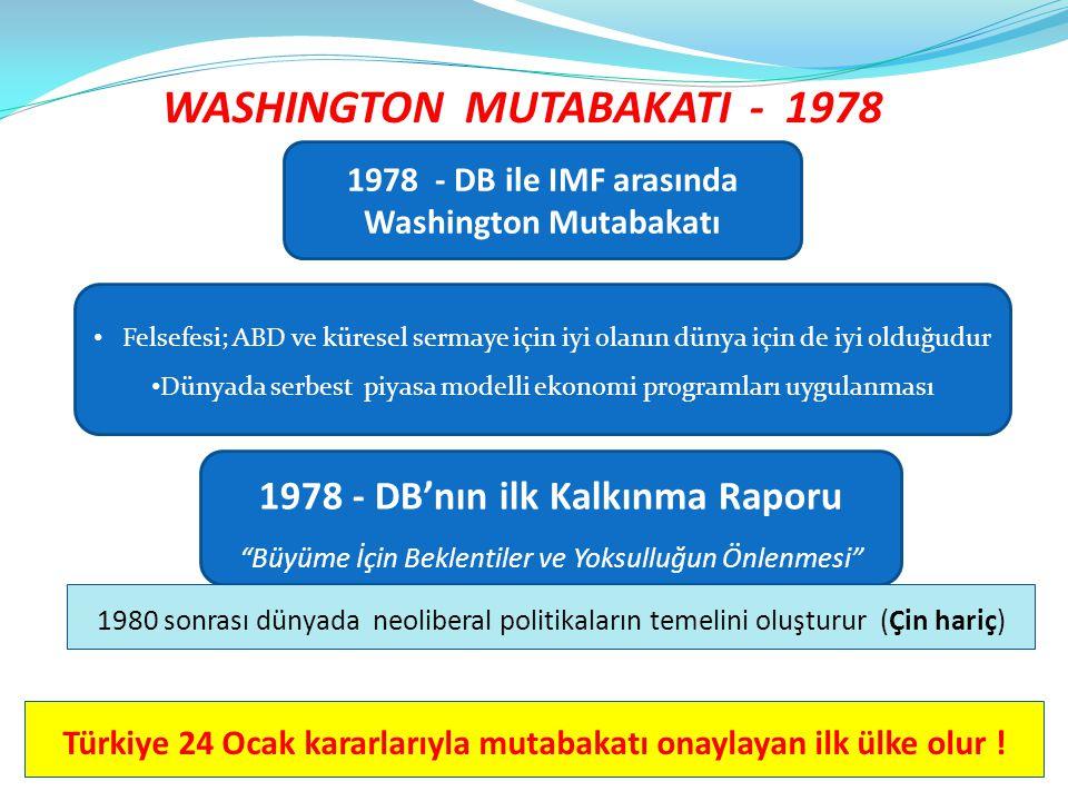 WASHINGTON MUTABAKATI - 1978 Türkiye 24 Ocak kararlarıyla mutabakatı onaylayan ilk ülke olur ! 1978 - DB ile IMF arasında Washington Mutabakatı • Fels