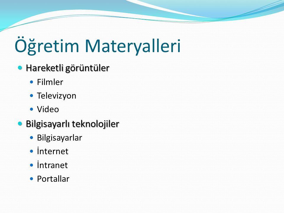 Öğretim Materyalleri  Hareketli görüntüler  Filmler  Televizyon  Video  Bilgisayarlı teknolojiler  Bilgisayarlar  İnternet  İntranet  Portallar