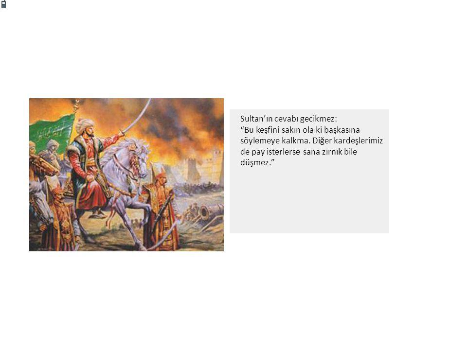 """Sultan'ın cevabı gecikmez: """"Bu keşfini sakın ola ki başkasına söylemeye kalkma. Diğer kardeşlerimiz de pay isterlerse sana zırnık bile düşmez."""""""