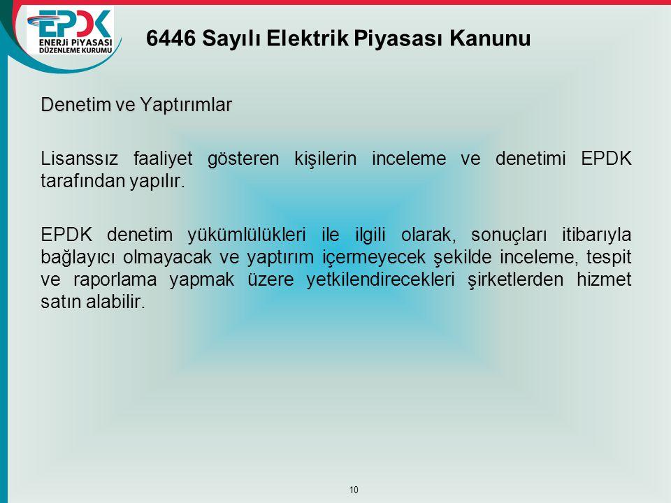 6446 Sayılı Elektrik Piyasası Kanunu Denetim ve Yaptırımlar Lisanssız faaliyet gösteren kişilerin inceleme ve denetimi EPDK tarafından yapılır. EPDK d