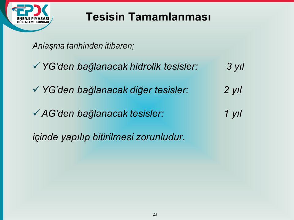 Tesisin Tamamlanması Anlaşma tarihinden itibaren;  YG'den bağlanacak hidrolik tesisler: 3 yıl  YG'den bağlanacak diğer tesisler: 2 yıl  AG'den bağl