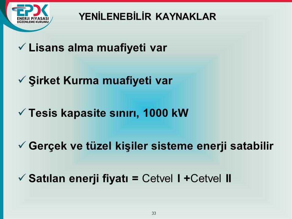 YENİLENEBİLİR KAYNAKLAR  Lisans alma muafiyeti var  Şirket Kurma muafiyeti var  Tesis kapasite sınırı, 1000 kW  Gerçek ve tüzel kişiler sisteme en