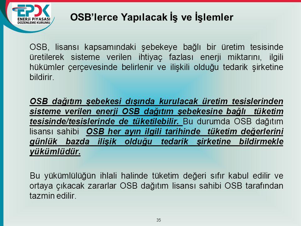 OSB'lerce Yapılacak İş ve İşlemler OSB, lisansı kapsamındaki şebekeye bağlı bir üretim tesisinde üretilerek sisteme verilen ihtiyaç fazlası enerji mik