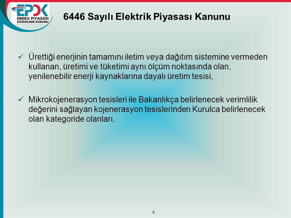 6446 Sayılı Elektrik Piyasası Kanunu  Ürettiği enerjinin tamamını iletim veya dağıtım sistemine vermeden kullanan, üretimi ve tüketimi aynı ölçüm nok