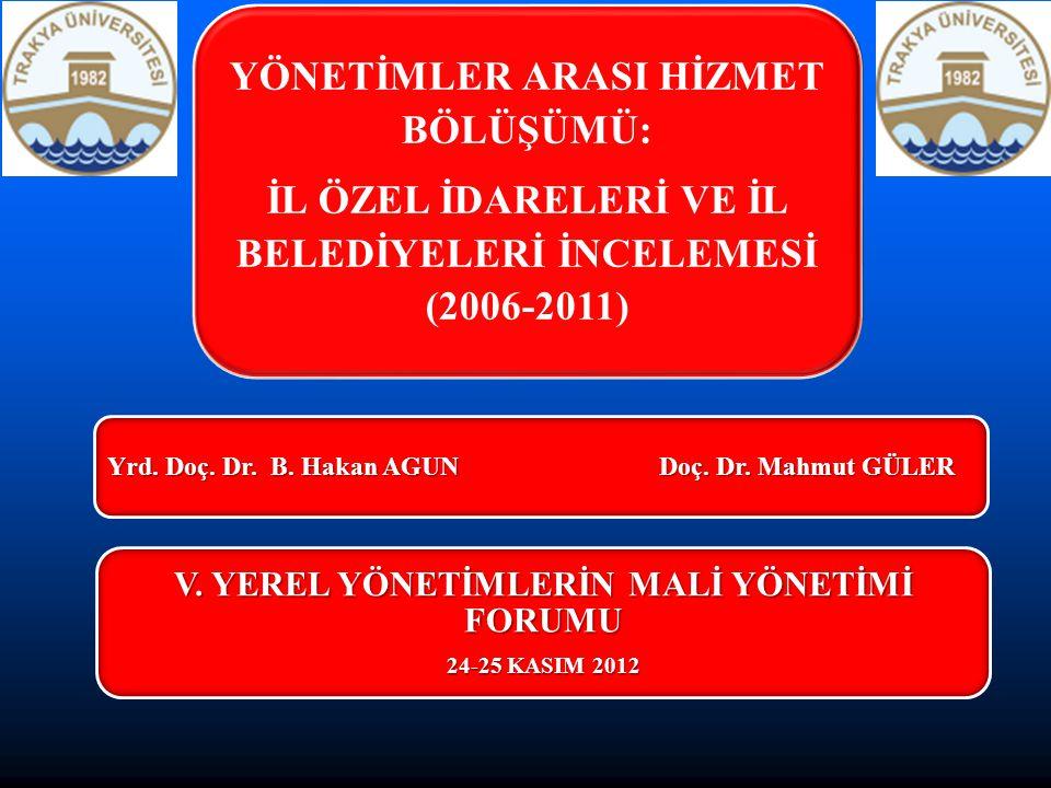   Yerel yönetimler teorisine,   İdareler arası görev bölüşümüne,   2006-2011 yılları arasında Türkiye'de il özel idareleri ve il belediyeleri tarafından gerçekleştirilen hizmetlerin bütçe giderleri içerisinde paysal dağılımlarına yer verilerek, kendilerine yüklenen görevler bağlamında değerlendirmelerde bulunulacaktır.