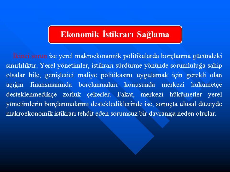 İkinci sorun ise yerel makroekonomik politikalarda borçlanma gücündeki sınırlılıktır. Yerel yönetimler, istikrarı sürdürme yönünde sorumluluğa sahip o