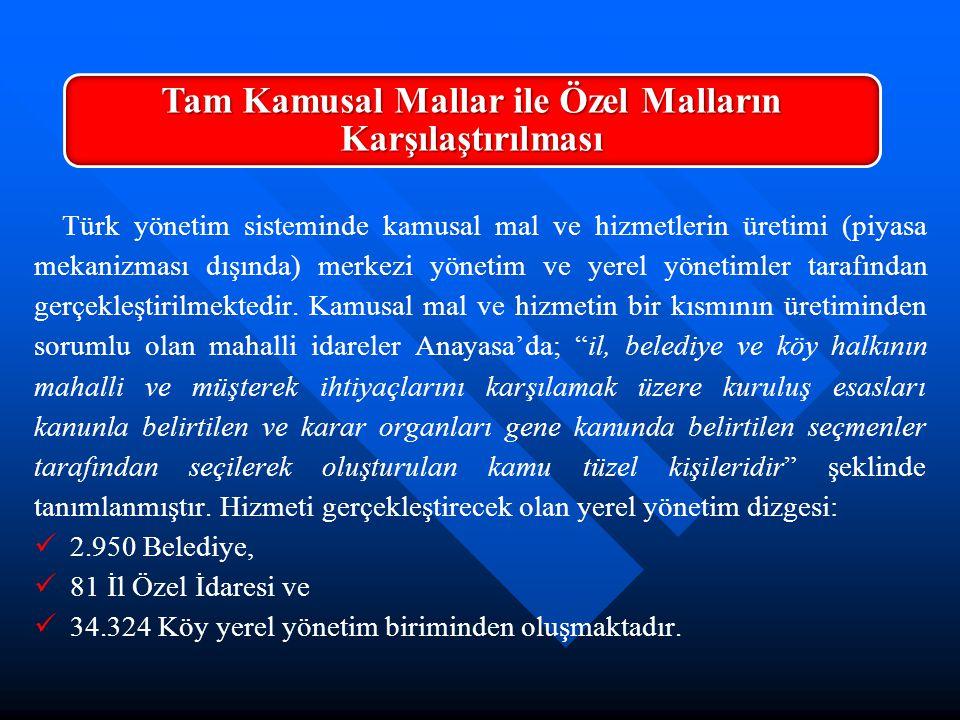 Türk yönetim sisteminde kamusal mal ve hizmetlerin üretimi (piyasa mekanizması dışında) merkezi yönetim ve yerel yönetimler tarafından gerçekleştirilm