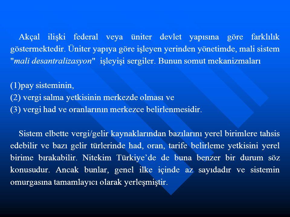 Federal ilkeye göre işleyen yerel yönetimde ise, mali sistem mali federalizm işleyişi sergiler.