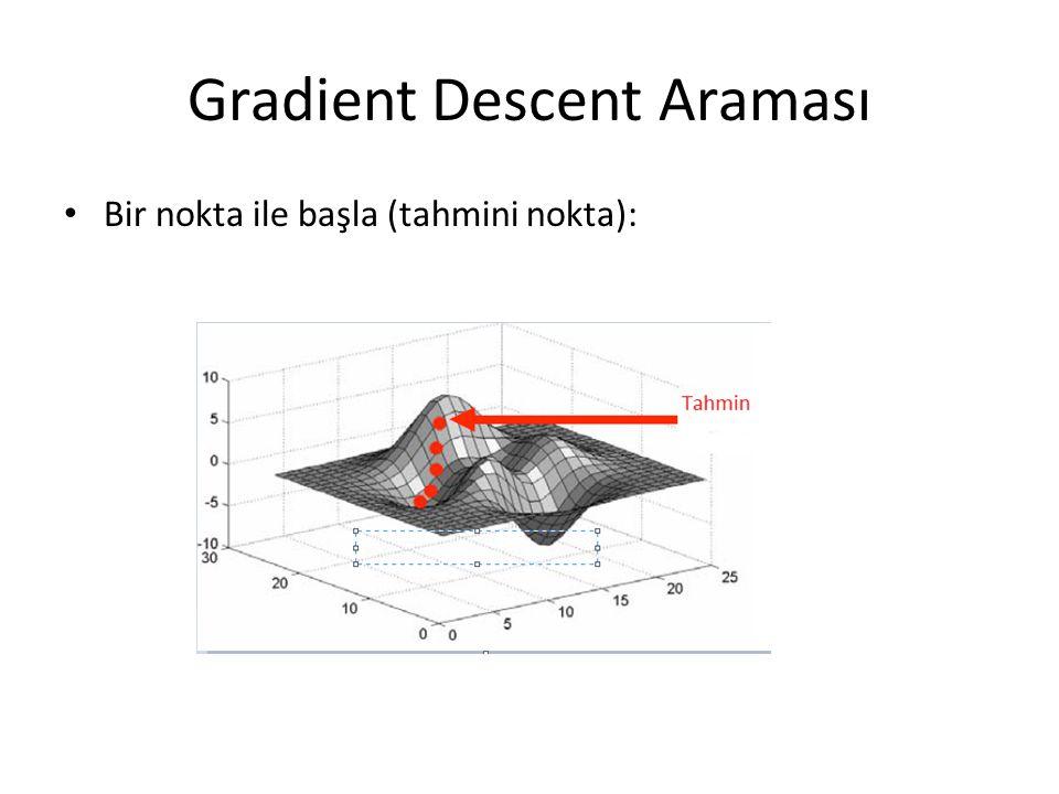 Gradient Descent Araması • Bir nokta ile başla (tahmini nokta):