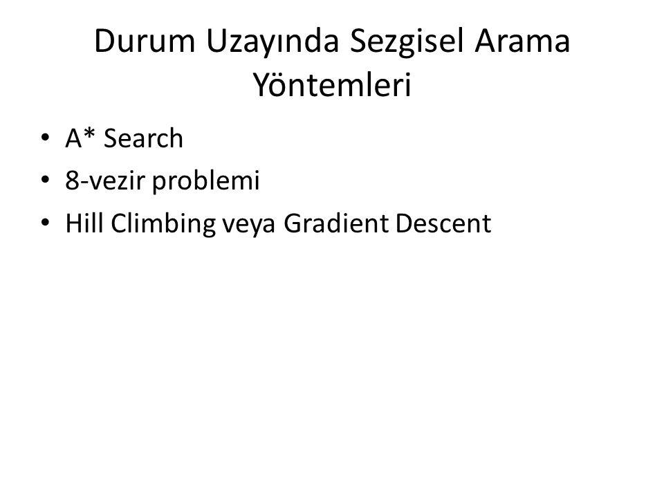 Durum Uzayında Sezgisel Arama Yöntemleri • A* Search • 8-vezir problemi • Hill Climbing veya Gradient Descent