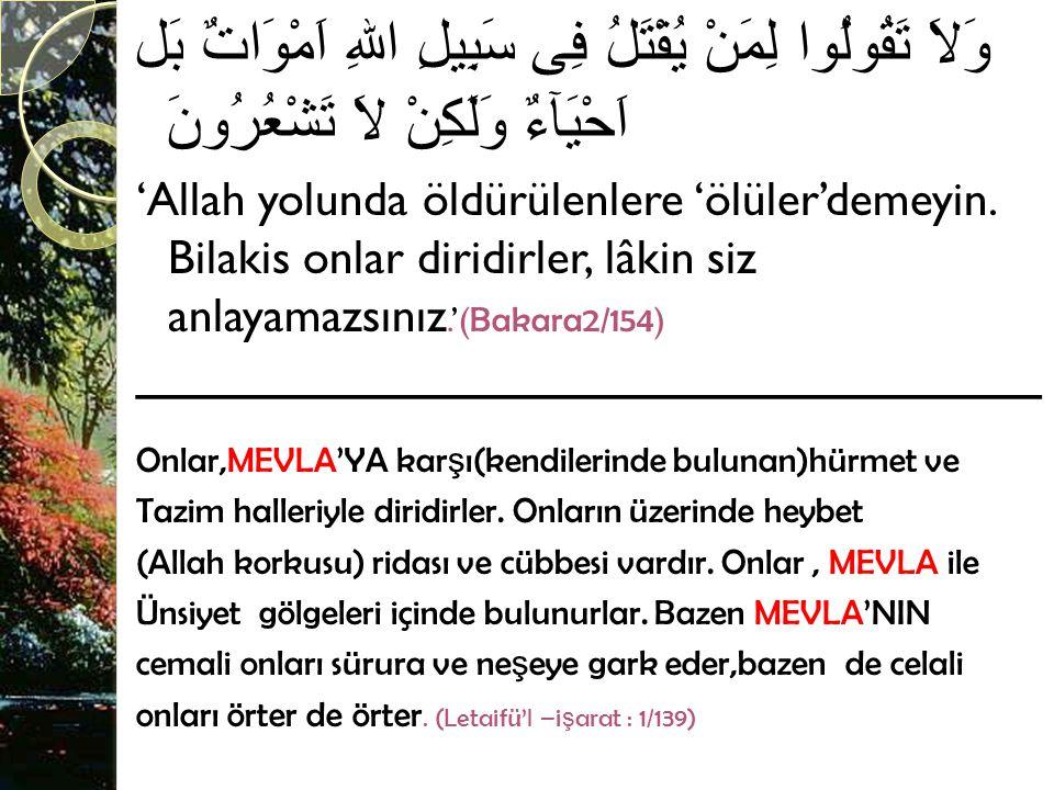 وَلاَ تَقُولُوا لِمَنْ يُقْتَلُ فِى سَبِيلِ اللهِ اَمْوَاتٌ بَل اَحْيَآءٌ وَلَكِنْ لاَ تَشْعُرُونَ 'Allah yolunda öldürülenlere 'ölüler'demeyin.