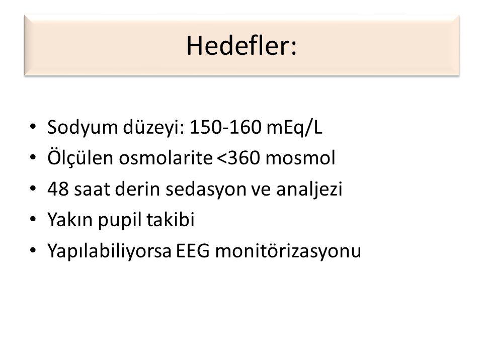 Hedefler: • Sodyum düzeyi: 150-160 mEq/L • Ölçülen osmolarite <360 mosmol • 48 saat derin sedasyon ve analjezi • Yakın pupil takibi • Yapılabiliyorsa