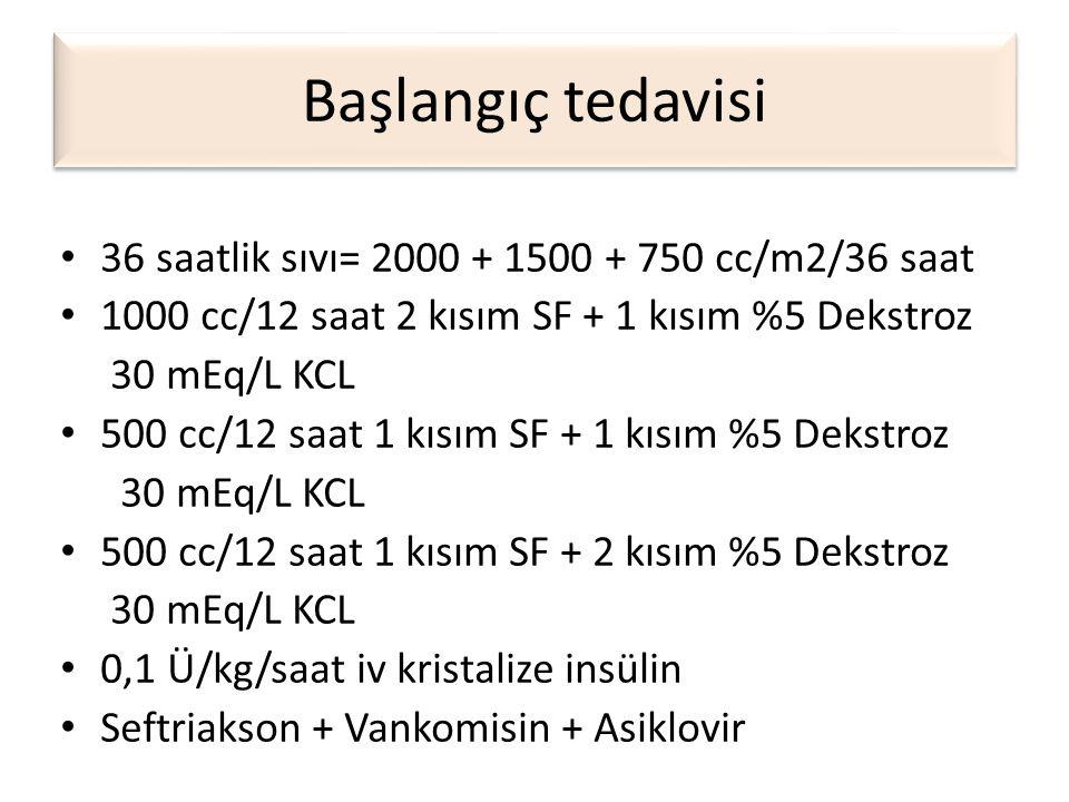 Başlangıç tedavisi • 36 saatlik sıvı= 2000 + 1500 + 750 cc/m2/36 saat • 1000 cc/12 saat 2 kısım SF + 1 kısım %5 Dekstroz 30 mEq/L KCL • 500 cc/12 saat
