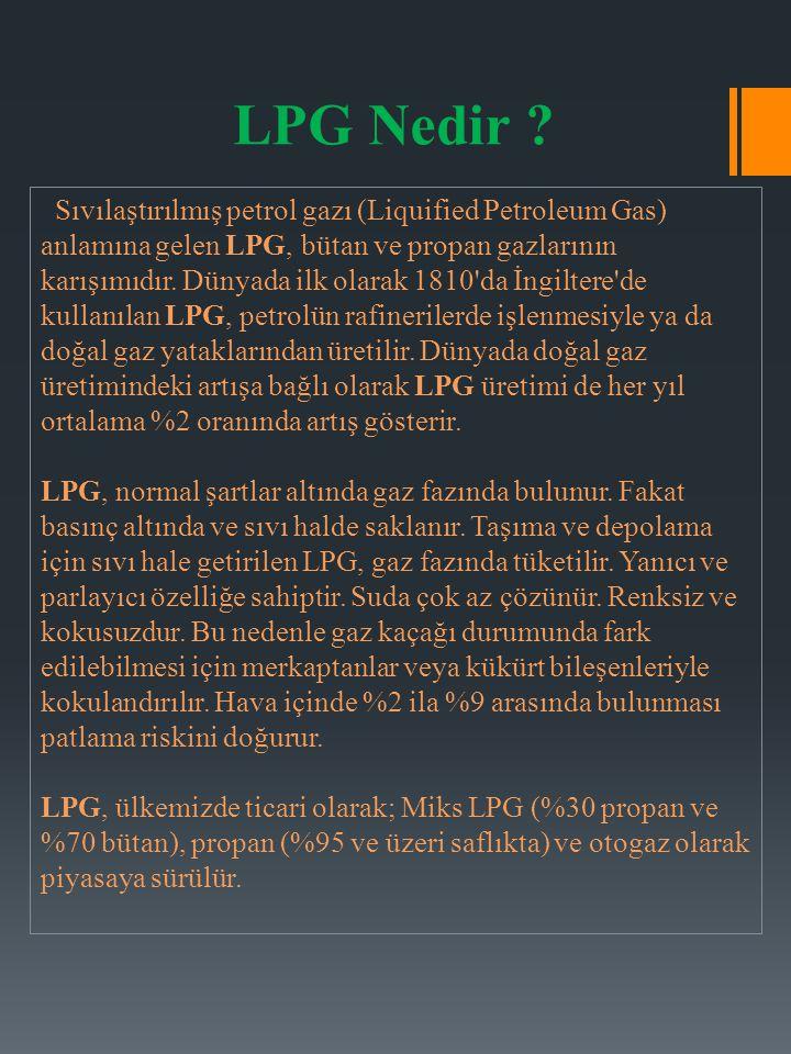 Sıvılaştırılmış petrol gazı (Liquified Petroleum Gas) anlamına gelen LPG, bütan ve propan gazlarının karışımıdır. Dünyada ilk olarak 1810'da İngiltere