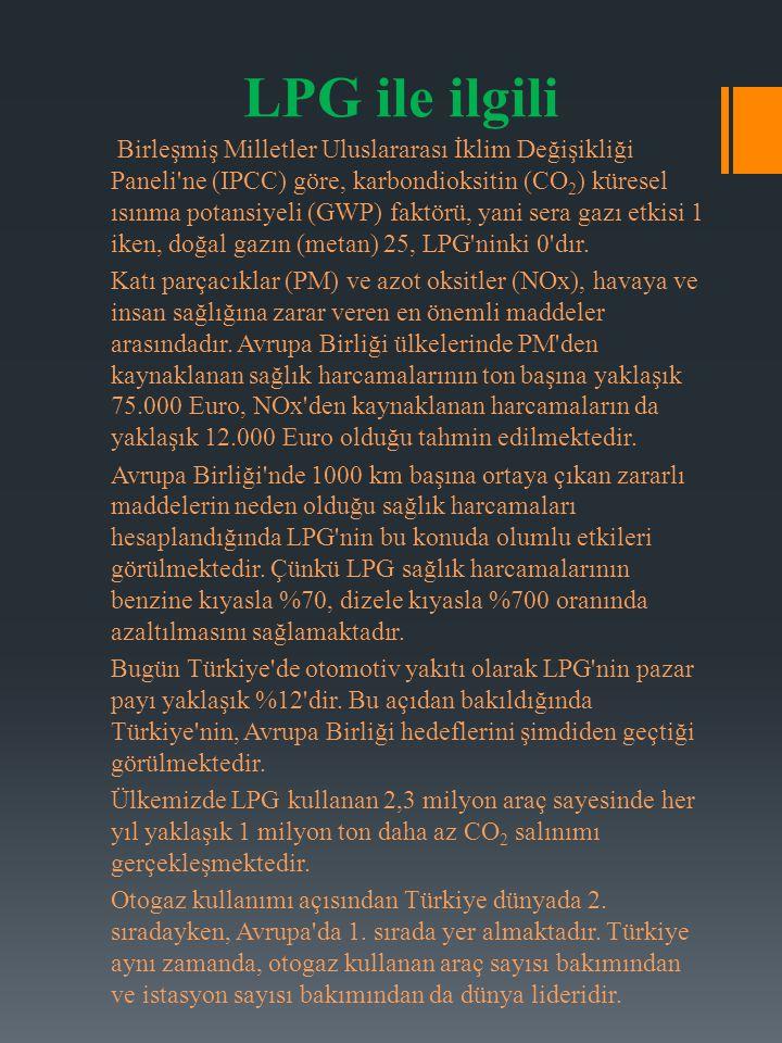 LPG ile ilgili Birleşmiş Milletler Uluslararası İklim Değişikliği Paneli'ne (IPCC) göre, karbondioksitin (CO 2 ) küresel ısınma potansiyeli (GWP) fakt