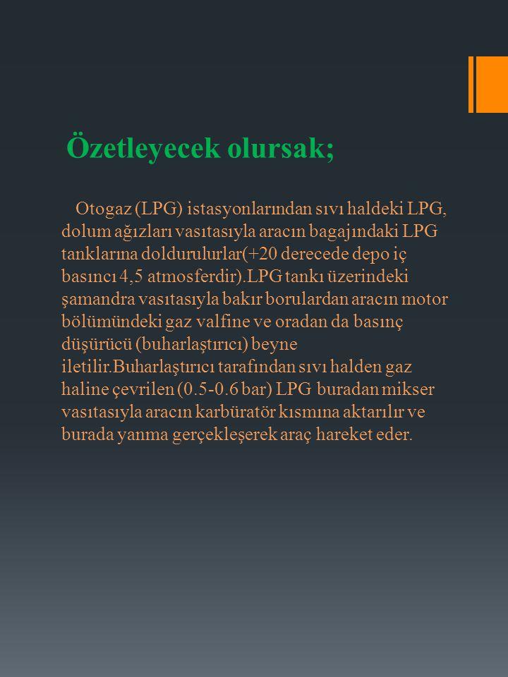 Özetleyecek olursak; Otogaz (LPG) istasyonlarından sıvı haldeki LPG, dolum ağızları vasıtasıyla aracın bagajındaki LPG tanklarına doldurulurlar(+20 de