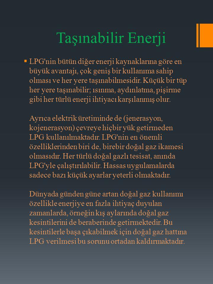Taşınabilir Enerji  LPG'nin bütün diğer enerji kaynaklarına göre en büyük avantajı, çok geniş bir kullanıma sahip olması ve her yere taşınabilmesidir
