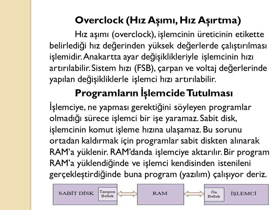 Overclock (Hız Aşımı, Hız Aşırtma) Hız aşımı (overclock), işlemcinin üreticinin etikette belirledi ğ i hız de ğ erinden yüksek de ğ erlerde çalıştırıl