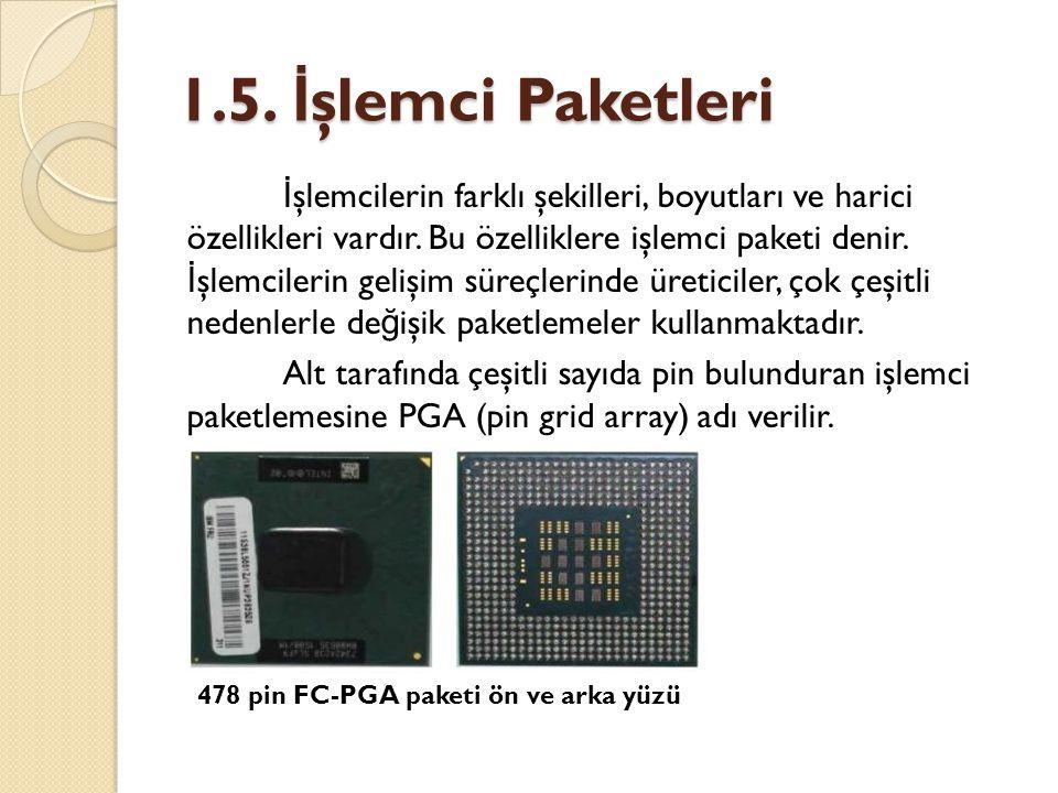 1.5. İ şlemci Paketleri İ şlemcilerin farklı şekilleri, boyutları ve harici özellikleri vardır. Bu özelliklere işlemci paketi denir. İ şlemcilerin gel