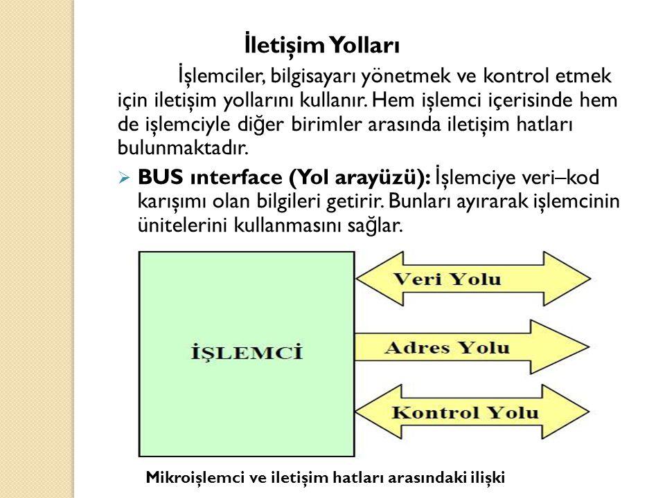 Adres yolu (Address Buses) İ şlemcinin bilgi yazaca ğ ı veya okuyaca ğ ı her hafıza hücresinin ve çevre birimlerinin bir adresi vardır.