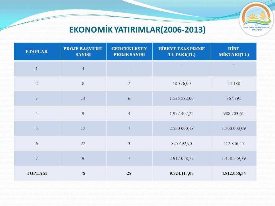 EKONOMİK YATIRIMLAR(2006-2013) ETAPLAR PROJE BAŞVURU SAYISI GERÇEKLEŞEN PROJE SAYISI HİBEYE ESAS PROJE TUTARI(TL) HİBE MİKTARI(TL) 14- -- 28248.376,00