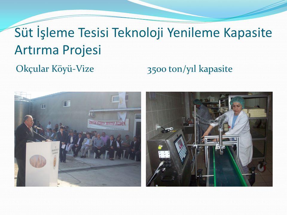 Süt İşleme Tesisi Teknoloji Yenileme Kapasite Artırma Projesi Okçular Köyü-Vize 3500 ton/yıl kapasite