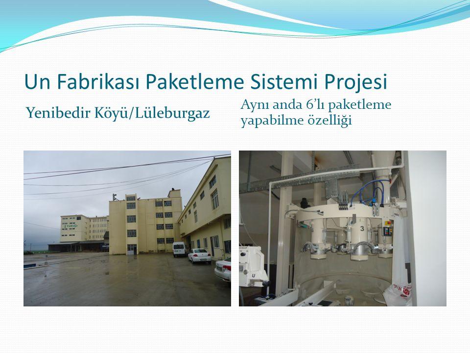 Un Fabrikası Paketleme Sistemi Projesi Yenibedir Köyü/Lüleburgaz Aynı anda 6'lı paketleme yapabilme özelliği