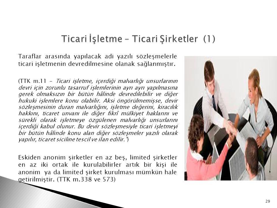 Taraflar arasında yapılacak adi yazılı sözleşmelerle ticari işletmenin devredilmesine olanak sağlanmıştır. (TTK m.11 - Ticari işletme, içerdiği malvar