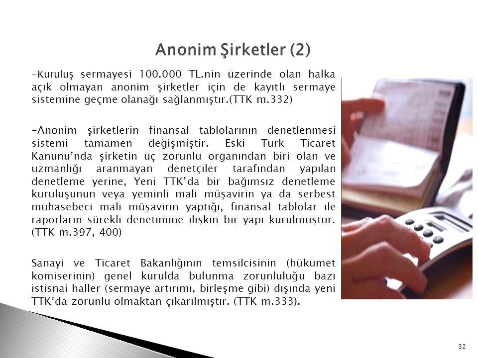 -Kuruluş sermayesi 100.000 TL.nin üzerinde olan halka açık olmayan anonim şirketler için de kayıtlı sermaye sistemine geçme olanağı sağlanmıştır.(TTK