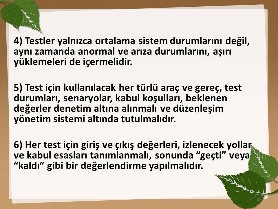 4) Testler yalnızca ortalama sistem durumlarını değil, aynı zamanda anormal ve arıza durumlarını, aşırı yüklemeleri de içermelidir. 5) Test için kulla
