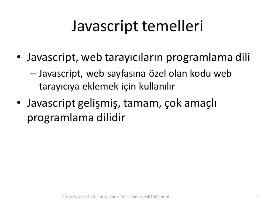 Javascript temelleri • Javascript, web tarayıcıların programlama dili – Javascript, web sayfasına özel olan kodu web tarayıcıya eklemek için kullanılır • Javascript gelişmiş, tamam, çok amaçlı programlama dilidir 2http://www.scinetcentral.com/~mishchenko/MIT504.html
