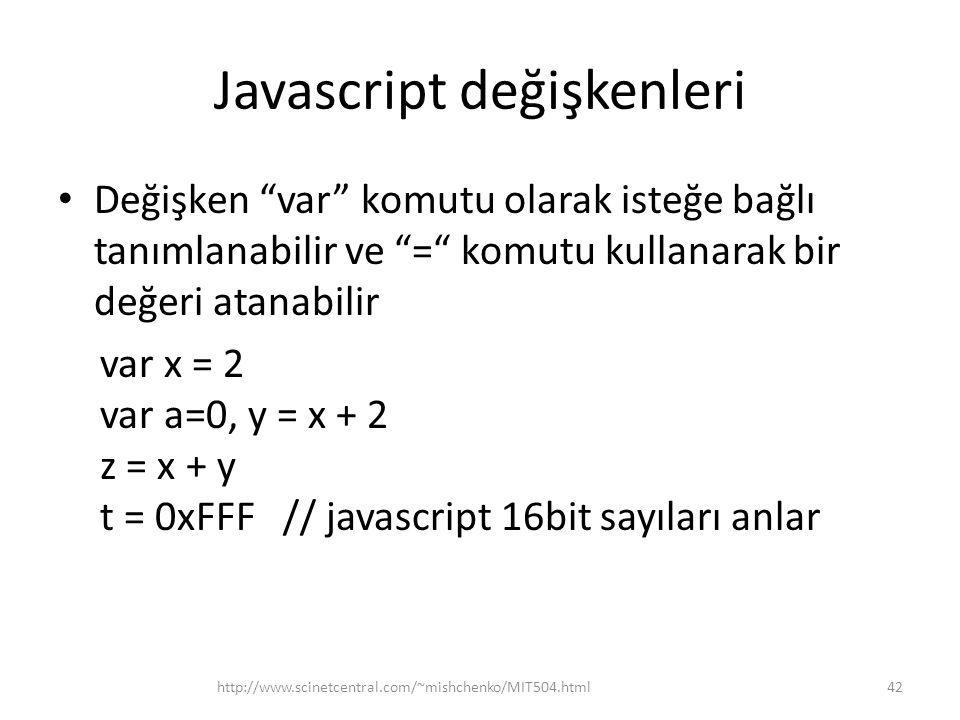 Javascript değişkenleri • Değişken var komutu olarak isteğe bağlı tanımlanabilir ve = komutu kullanarak bir değeri atanabilir var x = 2 var a=0, y = x + 2 z = x + y t = 0xFFF // javascript 16bit sayıları anlar 42http://www.scinetcentral.com/~mishchenko/MIT504.html