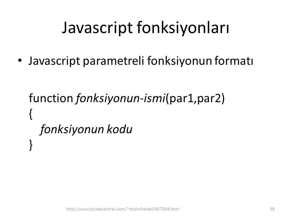 Javascript fonksiyonları • Javascript parametreli fonksiyonun formatı function fonksiyonun-ismi(par1,par2) { fonksiyonun kodu } 59http://www.scinetcentral.com/~mishchenko/MIT504.html