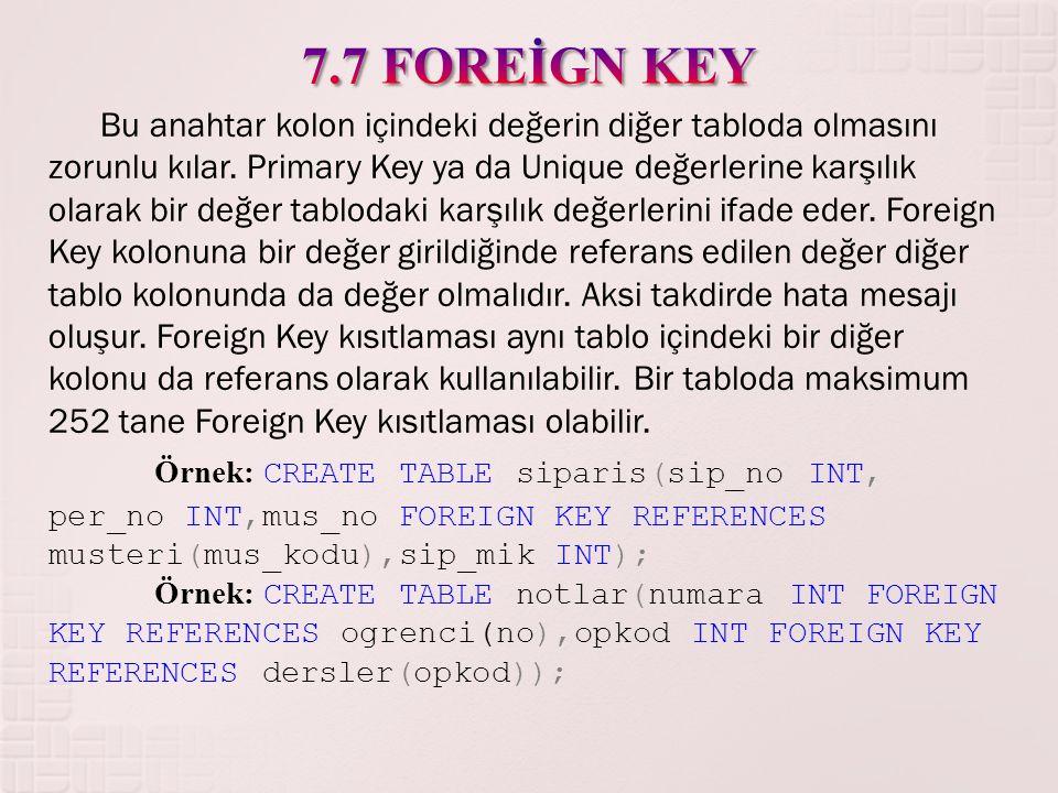 Bu anahtar kolon içindeki değerin diğer tabloda olmasını zorunlu kılar. Primary Key ya da Unique değerlerine karşılık olarak bir değer tablodaki karşı
