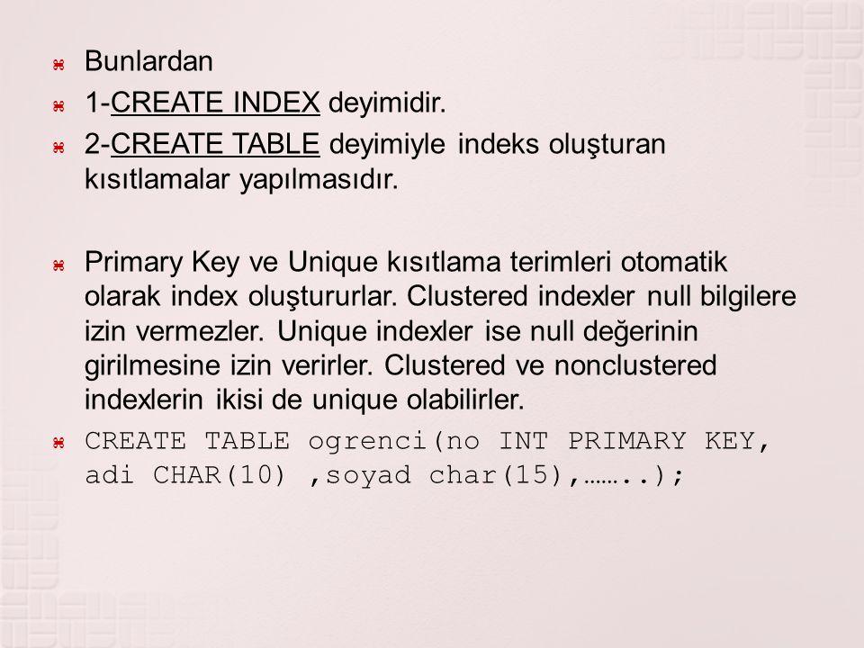  Bunlardan  1-CREATE INDEX deyimidir.  2-CREATE TABLE deyimiyle indeks oluşturan kısıtlamalar yapılmasıdır.  Primary Key ve Unique kısıtlama terim