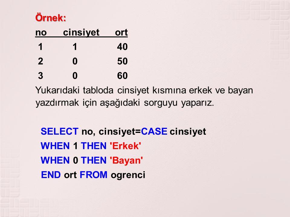 Örnek: Örnek: no cinsiyet ort 1 1 40 2 0 50 3 0 60 Yukarıdaki tabloda cinsiyet kısmına erkek ve bayan yazdırmak için aşağıdaki sorguyu yaparız. SELECT