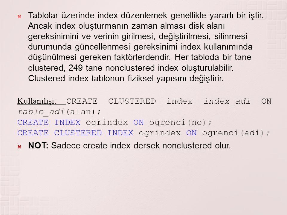  Tablolar üzerinde index düzenlemek genellikle yararlı bir iştir. Ancak index oluşturmanın zaman alması disk alanı gereksinimini ve verinin girilmesi