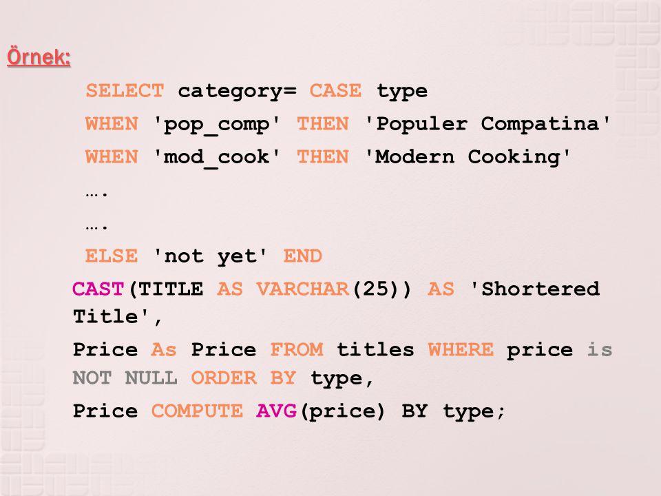 Örnek: SELECT category= CASE type WHEN 'pop_comp' THEN 'Populer Compatina' WHEN 'mod_cook' THEN 'Modern Cooking' …. ELSE 'not yet' END CAST(TITLE AS V
