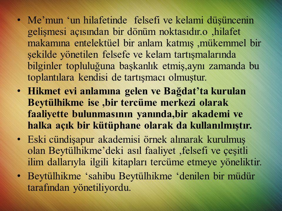 • Abbasiler döneminde ilk yüksek öğretim kurumu,selçuklu veziri Nizamülmülk'ün Bağdat'ta kurduğu Nizamiye Medresesi'dir.