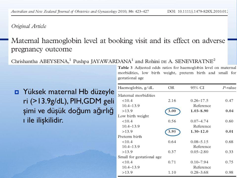  Yüksek maternal Hb düzeyle ri (>13.9g/dL), PIH,GDM geli şimi ve düşük do ğ um a ğ ırlı ğ ı ile ilişkilidir.