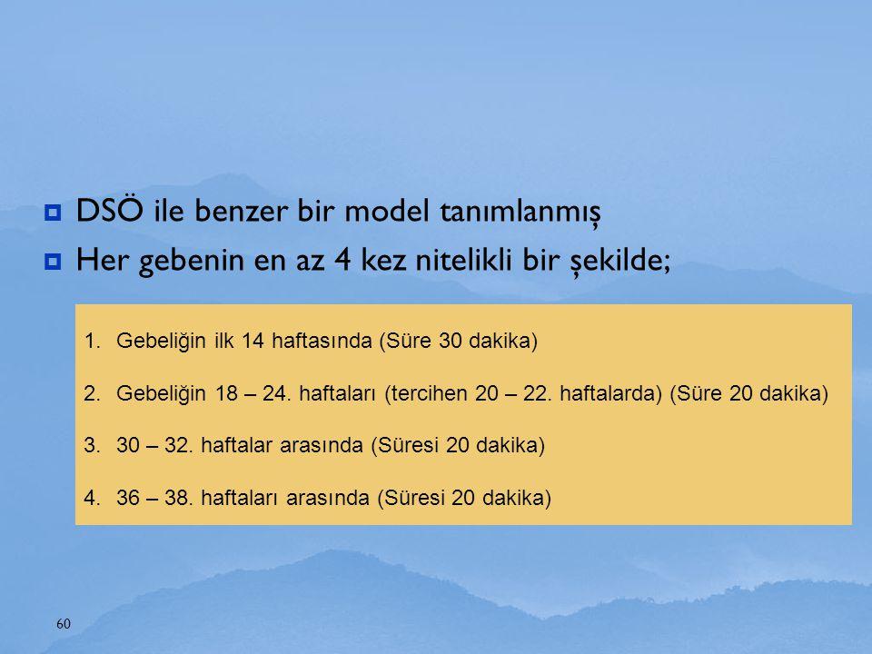  DSÖ ile benzer bir model tanımlanmış  Her gebenin en az 4 kez nitelikli bir şekilde; 60 1.Gebeliğin ilk 14 haftasında (Süre 30 dakika) 2.Gebeliğin