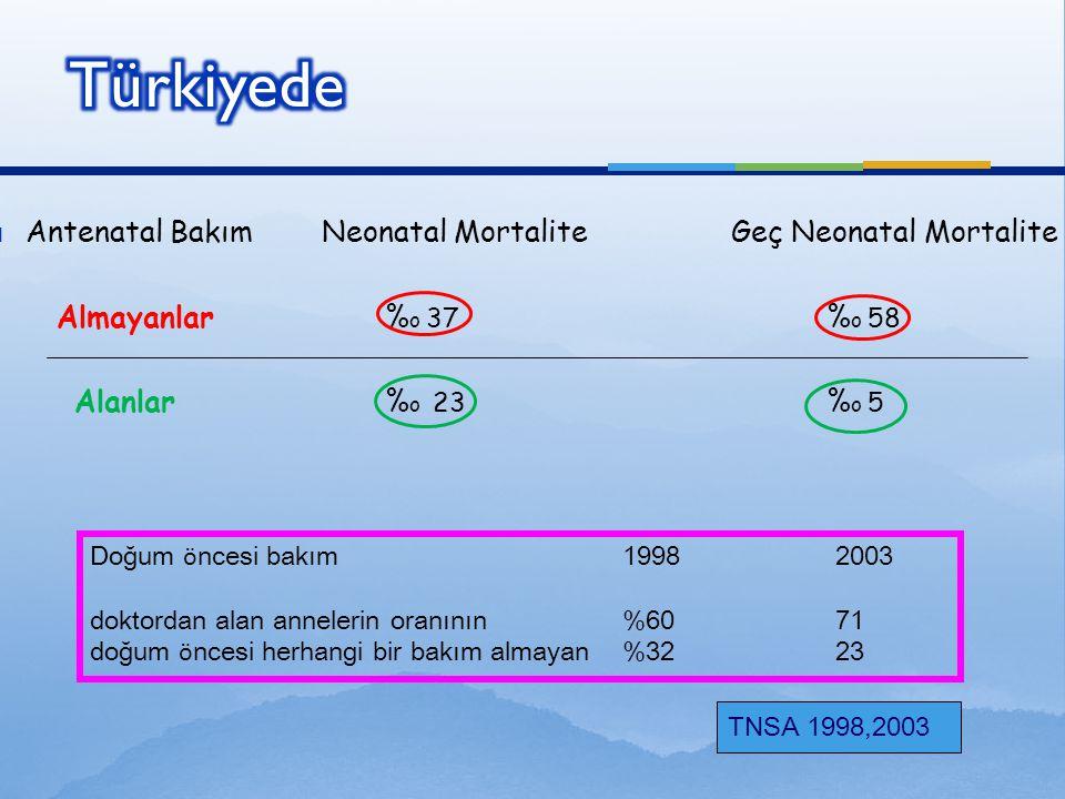  Antenatal Bakım Neonatal Mortalite Geç Neonatal Mortalite Almayanlar % o 37 % o 58 Alanlar % o 23 % o 5 TNSA 1998,2003 Doğum ö ncesi bakım19982003 d
