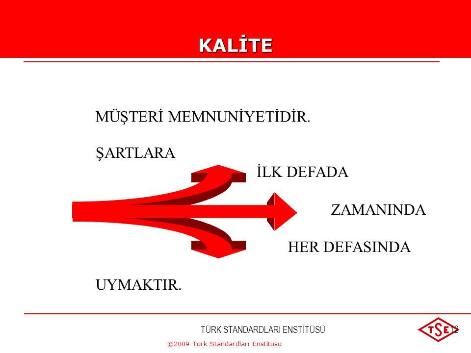 ©2009 Türk Standardları Enstitüsü TÜRK STANDARDLARI ENSTİTÜSÜ11KALİTE Yapısal karakteristikler kümesinin şartları yerine getirme derecesi. (TS EN ISO