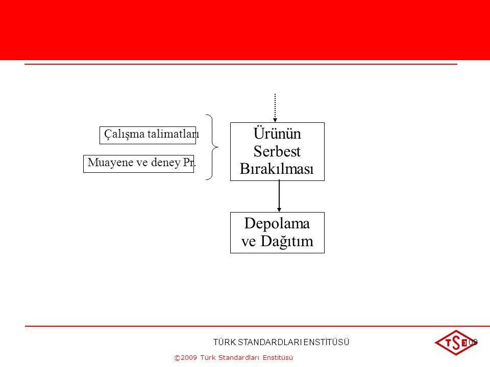 ©2009 Türk Standardları Enstitüsü Planlama Sipariş prosesi Üretim programı Pr. Tedarikçi değerlendirme Pr. Satınalma Pr. Bakım Pr. Tasarım Kontrolü Pr