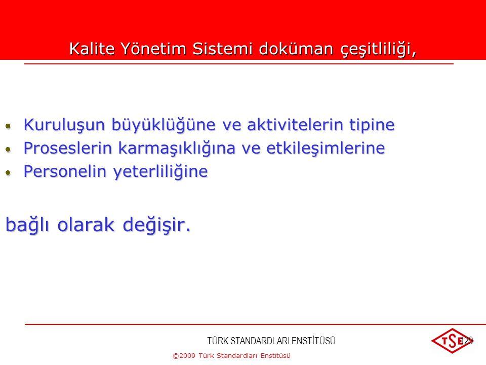 ©2009 Türk Standardları Enstitüsü TÜRK STANDARDLARI ENSTİTÜSÜ128 Dokümantasyon şartları olarak  Kalite politikası ve hedefleri  Kalite El Kitabı  S
