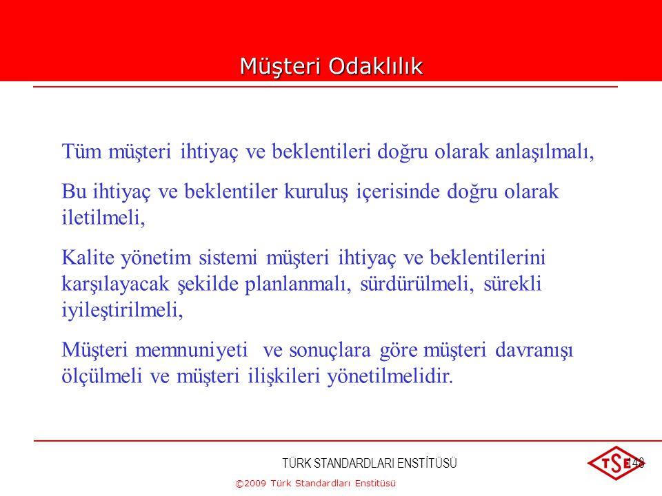 ©2009 Türk Standardları Enstitüsü TÜRK STANDARDLARI ENSTİTÜSÜ147 Üst yönetim müşteri şartlarının belirlenmesini ve müşteri memnuniyetinin artırılması