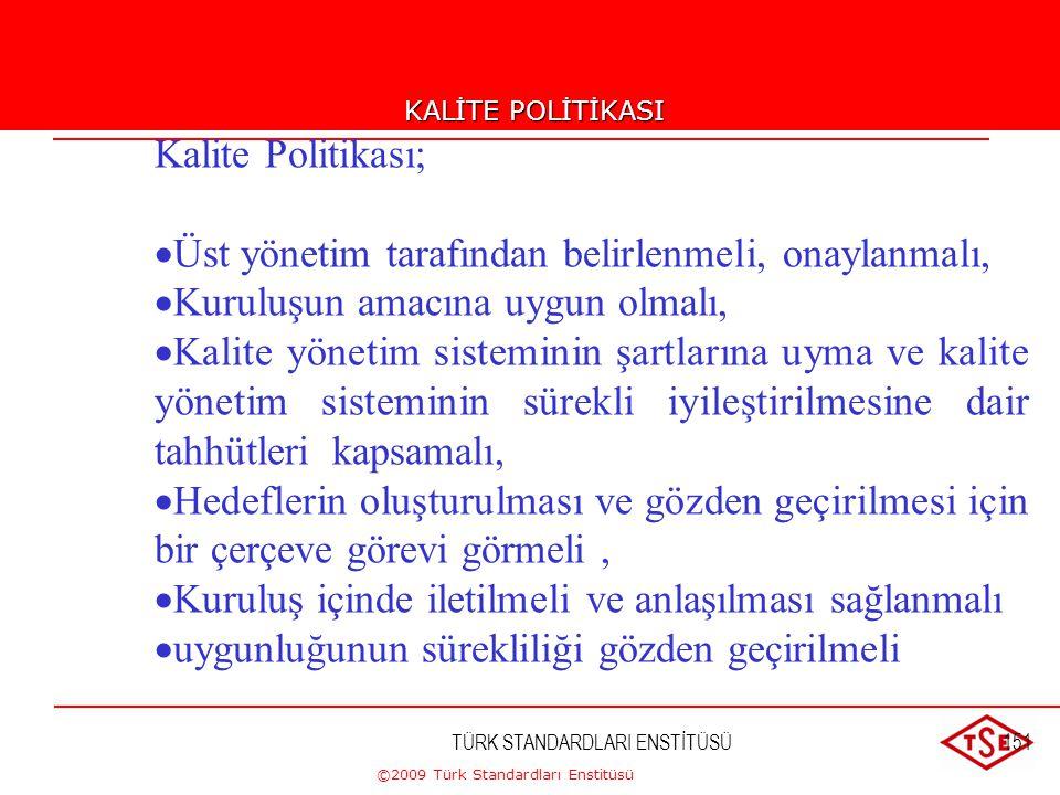 ©2009 Türk Standardları Enstitüsü TÜRK STANDARDLARI ENSTİTÜSÜ150 Amaç, Politika, Hedef, Strateji...... Amaç (Vizyon+Misyon) Kalite Politikası Hedefler