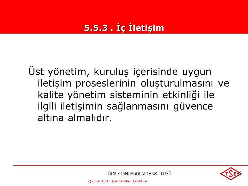 ©2009 Türk Standardları Enstitüsü TÜRK STANDARDLARI ENSTİTÜSÜ161 b) Kalite yönetim sisteminin performansı ve herhangi bir iyileştirilme ihtiyacı hakkı