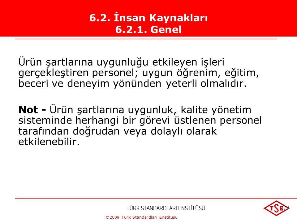 ©2009 Türk Standardları Enstitüsü TÜRK STANDARDLARI ENSTİTÜSÜ171 Kuruluş; a) Kalite yönetim sistemini uygulamak, sürekliliğini sağlamak ve etkinliğini